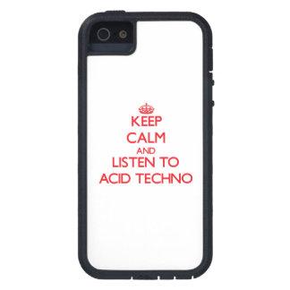 Guarde la calma y escuche el ÁCIDO TECHNO iPhone 5 Cárcasa