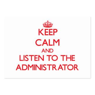 Guarde la calma y escuche el administrador tarjetas personales