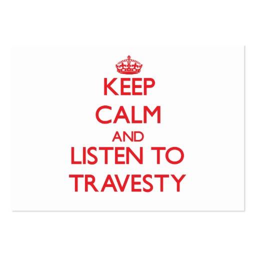 Guarde la calma y escuche el DISFRAZ Plantilla De Tarjeta De Negocio