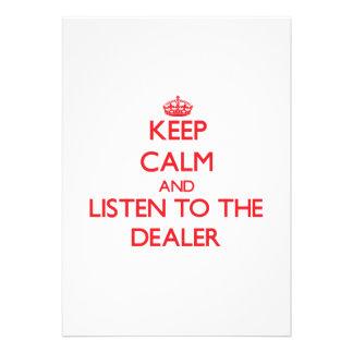 Guarde la calma y escuche el distribuidor autoriza invitaciones personalizada