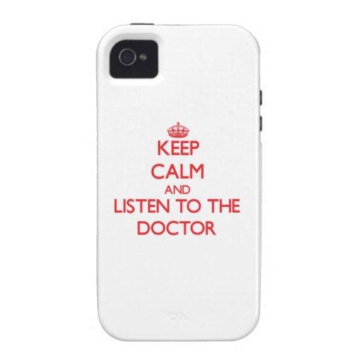 Guarde la calma y escuche el doctor iPhone 4 carcasas