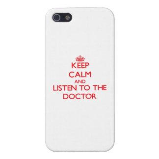 Guarde la calma y escuche el doctor iPhone 5 protector