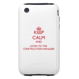 Guarde la calma y escuche el encargado de la const iPhone 3 tough cobertura
