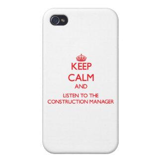 Guarde la calma y escuche el encargado de la const iPhone 4 funda