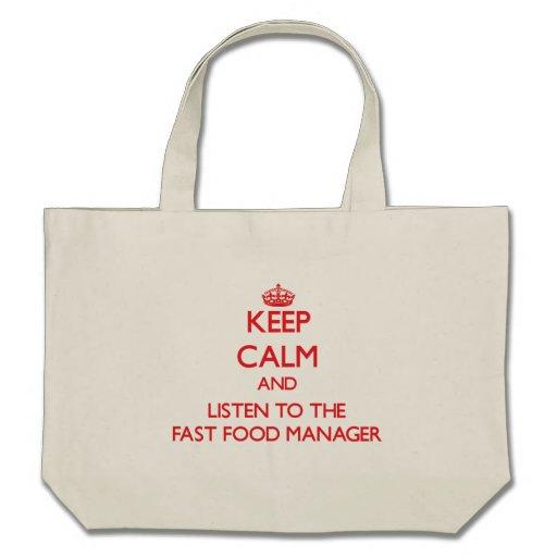 Guarde la calma y escuche el encargado de los alim bolsa de mano