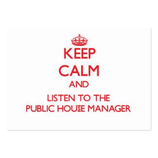 Guarde la calma y escuche el encargado del bar plantillas de tarjetas personales