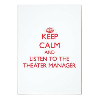 Guarde la calma y escuche el encargado del teatro invitaciones personales