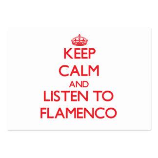 Guarde la calma y escuche el FLAMENCO Tarjetas De Visita Grandes