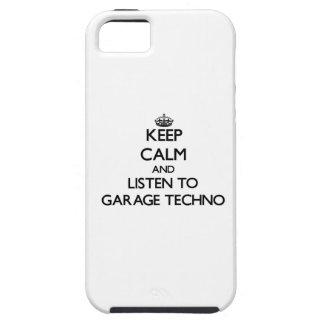 Guarde la calma y escuche el GARAJE TECHNO iPhone 5 Carcasas