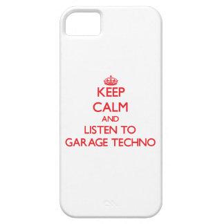 Guarde la calma y escuche el GARAJE TECHNO iPhone 5 Case-Mate Cárcasa