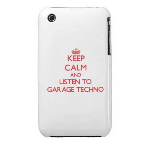 Guarde la calma y escuche el GARAJE TECHNO Case-Mate iPhone 3 Carcasa