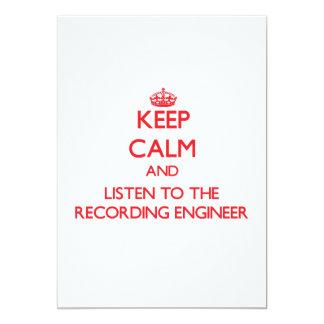 Guarde la calma y escuche el ingeniero de la invitación 12,7 x 17,8 cm