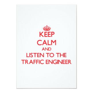 Guarde la calma y escuche el ingeniero del tráfico invitación 12,7 x 17,8 cm