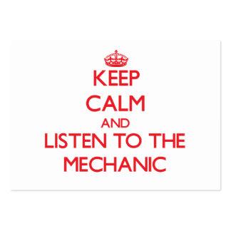 Guarde la calma y escuche el mecánico tarjetas de visita