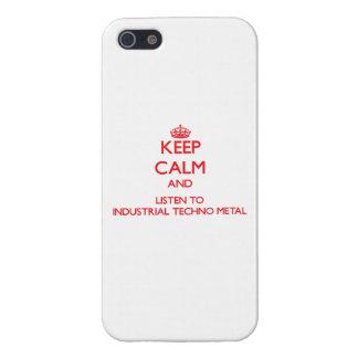 Guarde la calma y escuche el METAL INDUSTRIAL de T iPhone 5 Cárcasas
