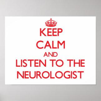 Guarde la calma y escuche el neurólogo póster