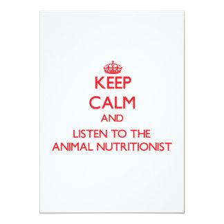 Guarde la calma y escuche el nutricionista animal invitaciones personales