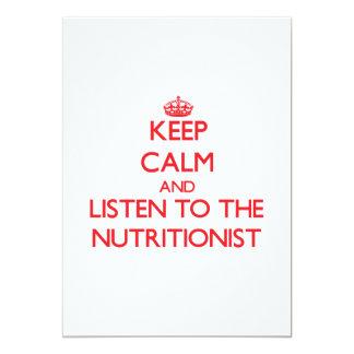 Guarde la calma y escuche el nutricionista invitación personalizada