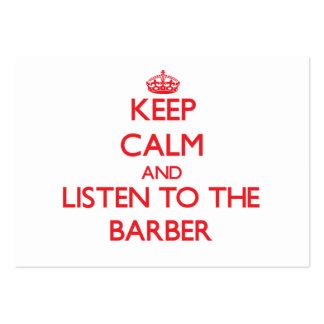 Guarde la calma y escuche el peluquero tarjetas de visita grandes