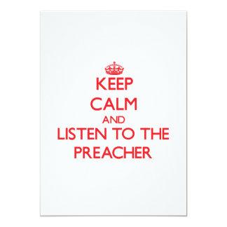 Guarde la calma y escuche el predicador invitación 12,7 x 17,8 cm