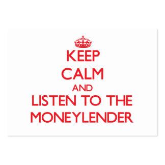 Guarde la calma y escuche el prestamista tarjetas personales