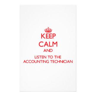 Guarde la calma y escuche el técnico de la contabi  papeleria de diseño