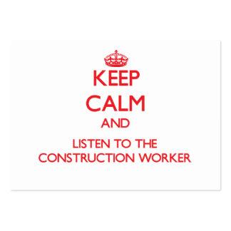 Guarde la calma y escuche el trabajador de constru plantilla de tarjeta de visita