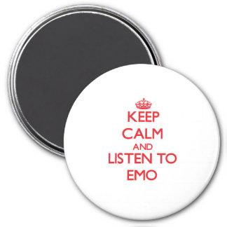 Guarde la calma y escuche EMO Imán Para Frigorífico