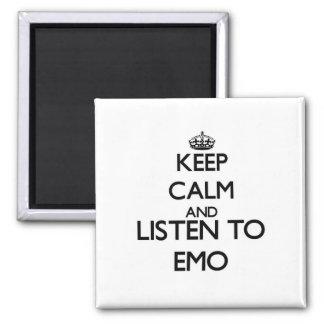 Guarde la calma y escuche EMO Iman Para Frigorífico