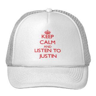 Guarde la calma y escuche Justin Gorros Bordados