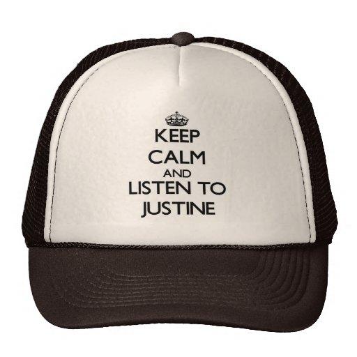 Guarde la calma y escuche Justine Gorros Bordados