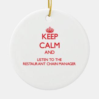 Guarde la calma y escuche la cadena de restaurante adorno de navidad