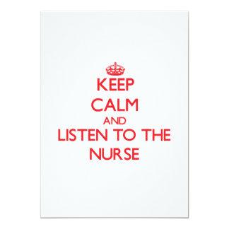 Guarde la calma y escuche la enfermera invitacion personalizada
