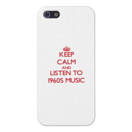 Guarde la calma y escuche la MÚSICA de los años 60 iPhone 5 Fundas