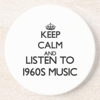 Guarde la calma y escuche la MÚSICA de los años 60 Posavaso Para Bebida