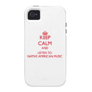 Guarde la calma y escuche la MÚSICA del NATIVO AME Case-Mate iPhone 4 Fundas