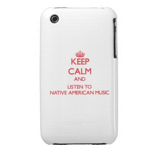 Guarde la calma y escuche la MÚSICA del NATIVO AME Case-Mate iPhone 3 Cárcasas