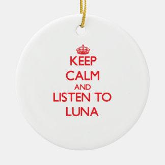 Guarde la calma y escuche Luna Ornamento De Navidad