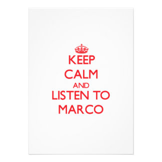 Guarde la calma y escuche Marco