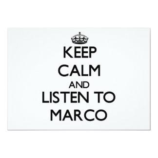 Guarde la calma y escuche Marco Anuncio