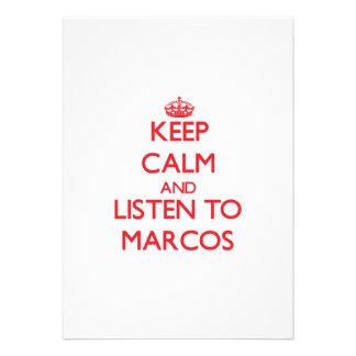 Guarde la calma y escuche Marcos