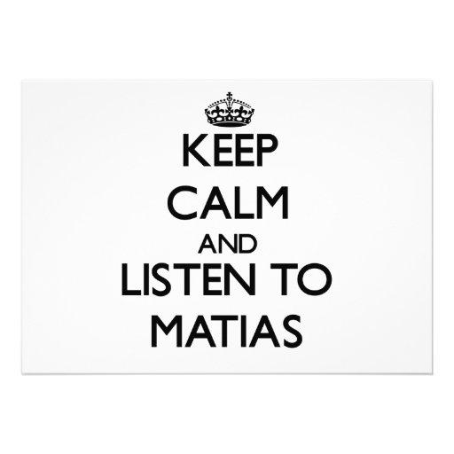 Guarde la calma y escuche Matias Invitacion Personalizada