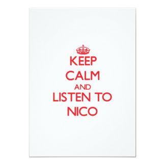Guarde la calma y escuche Nico Invitación 12,7 X 17,8 Cm