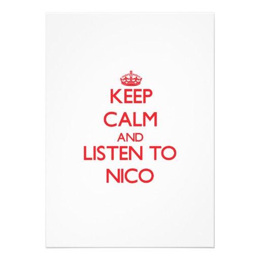 Guarde la calma y escuche Nico Invitacion Personal
