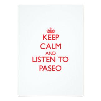 Guarde la calma y escuche PASEO Invitación 12,7 X 17,8 Cm