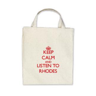 Guarde la calma y escuche Rodas Bolsas Lienzo