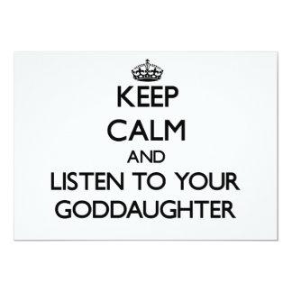 Guarde la calma y escuche su ahijada invitación 12,7 x 17,8 cm