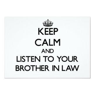 Guarde la calma y escuche su cuñado invitación 12,7 x 17,8 cm