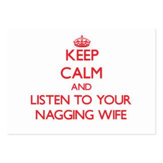 Guarde la calma y escuche su esposa que regaña plantillas de tarjeta de negocio
