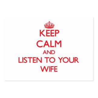 Guarde la calma y escuche su esposa plantillas de tarjetas de visita